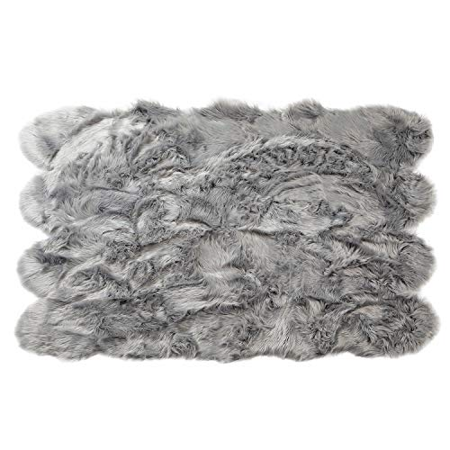 Sheepskin Octo Rugs - Silky Super Soft Gray Faux Sheepskin Shag Rug Faux Fur - Machine Washable Great for Photography or Decor Get The Real Look Without Harming Animals (Octo Pelt (5 feet x 7 feet)