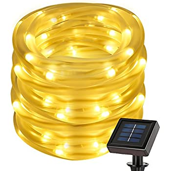 LE 22.97ft Solar Rope String Lights, Waterproof IP55, 50 LED, 3000K Warm White, Light Sensor, 2 Light Modes, Outdoor Rope Lights For Christmas Home Garden Bedroom Party Decoration