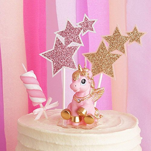 TBJSM Super Cute Gold Fly Unicorn Cake Cupcake Topper Birthday Gifts Wish Candle Wedding Party Decorations (Pink) by TBJSM (Image #1)