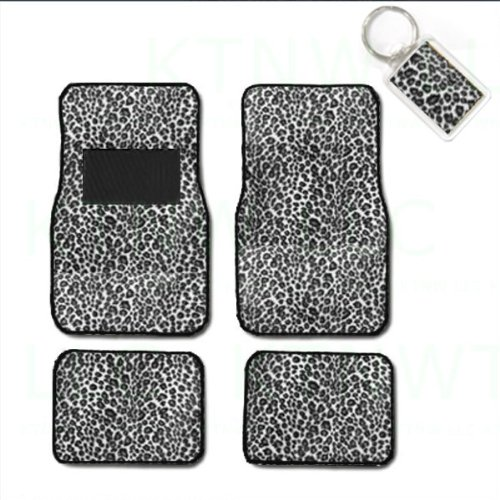 Cute Car Floor Mats (A Set of 4 Universal Fit Animal Print Carpet Floor Mats for Cars / Truck and 1 Key Fob - Cheetah White)