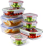 Glass Container with lid - 3 Sizes, 8 Pieces 1 Compartment Glass Food Containers | Glass Meal Prep Containers | Oven, Microwave, Freezer, Dishwasher Safe