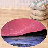 VROSELV Custom carpetLake House Decor Thunderstorm Bolts With Vivid Colorful Sky Like Solar Lights Phenomenal Nature Picture Bedroom Living Room Dorm Decor Pink Grey Round 79 inches