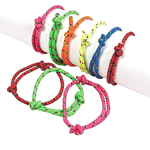 Kicko Rope Friendship Bracelets - Pack of 12 - Fits Most Wrists - Assorted Colors Nylon Friendship Bracelets - for Kids and Adults Beauty, Fashion, Great Party Favors, Gift, Prize