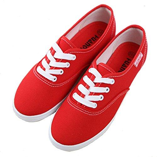 Angelliu Womens Casual Canvas Veterschoenen Sneakers Met Edelstenen Platte Schoenen Rood