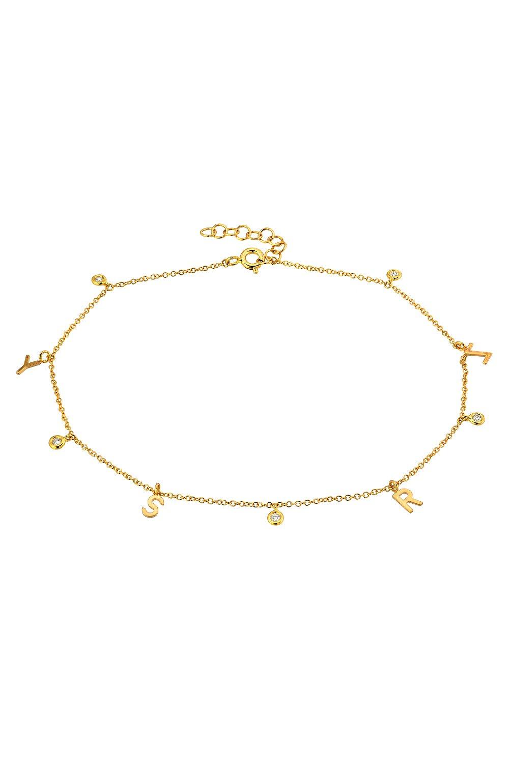 14k gold bezel diamond anklet
