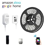 Aubric Smart Wifi Led Light Strip Compatible with Amazon Alexa & Google Home, 16.4ft Waterproof Light Strip Kit with Power Adapter and Controller