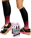 Physix Gear Sport Compression Calf Sleeves for Men & Women 20-30mmhg - Best Footless Compression Socks for Shin Splints, Running, Leg Pain, Nurses & Pregnancy -Increase Circulation - BLK/PNK S/M - M/L