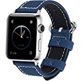 Apple Watch Band 42mm, Fullmosa Mosa Calf Leather Strap Replacement Band/Strap with Stainless Steel Clasp for Apple iWatch Series 1 & 2 Sport and Edition Versions 2015 2016, Dark Blue,42mm