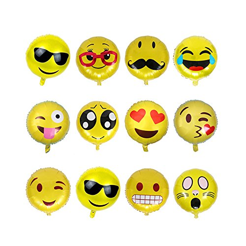 - CHQHQ Emoji Balloons Emoji Mylar Balloons Smiley Face Foil Balloons Party, Birthday Holiday Decoration 13PCS