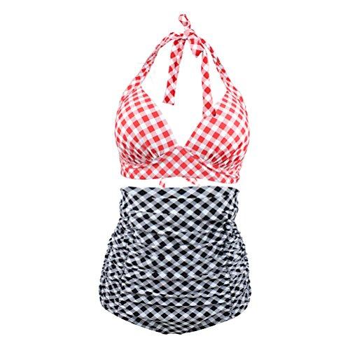 YoungSoul Ropa de baño para mujer - Trajes de baño vintage cintura alta - Braguitas de bikini con panel reductor y diseño de cuadrícula Negro Cuadrícula