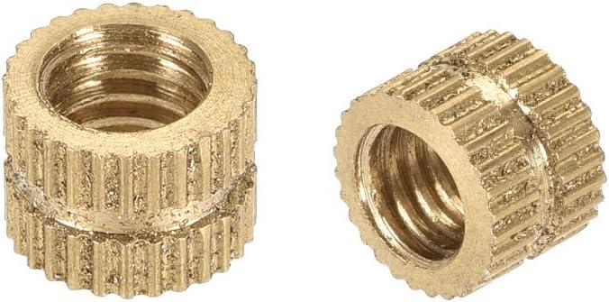 100 Pcs uxcell Knurled Insert Nuts M4 x 6mm L x 6mm OD Female Thread Brass Embedment Assortment Kit