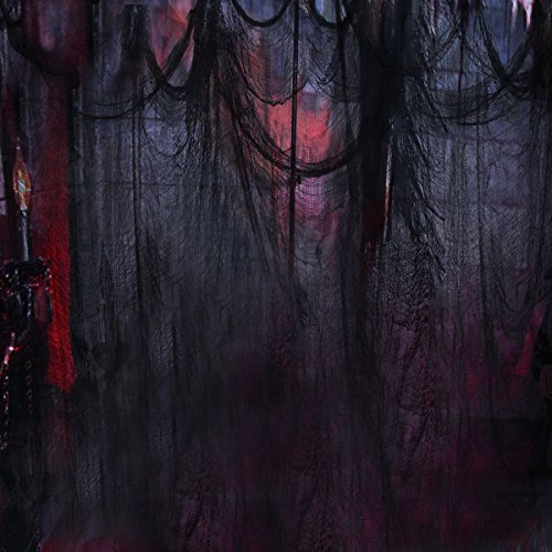Black Creepy Cloth, Spooky Halloween Decorations for Haunted Houses Party Doorways Outdoors, 8.3 Yards X 79'']()