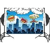 Qintec Superhero Backdrops Background Photo Studio Backdrop Vinyl Backdrop for Photography video Birthday Party 5x7ft