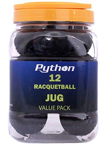 Python Black Racquetballs (Value Pack - 12 Ball Jug/Long Rally Ball!)