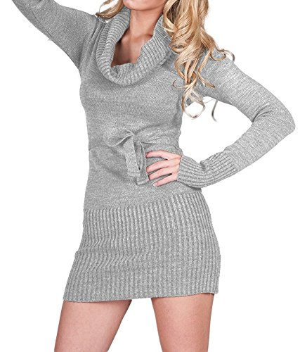 Glamour Empire. Womens Warm Knit Tunic Jumper Mini Dress Turtle Neck. Belt. (Glamour Belted Belt)
