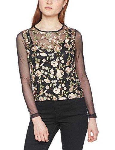New Look Floral Mesh, Maglia a Maniche Lunghe para Mujer Black (Black Pattern)
