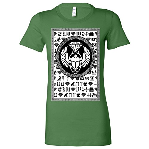 Womens Egyptian Diamond Knit (Egyptian Diamond Scarab Ladies Lightweight Fitted T-Shirt - Leaf Large)