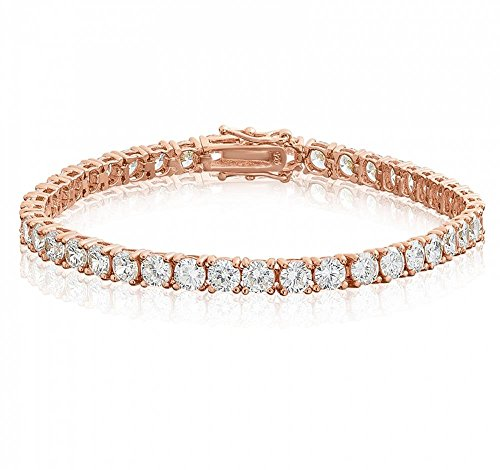 Venetia Realistic 9 Carats 4mm Brilliant Simulated Diamond Tennis Bracelet 14K Rose Gold Plated 7 inches cubic zirconia cz (14k Heart Tag Bracelet)