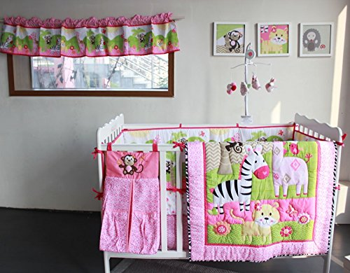 NAUGHTYBOSS Girl Baby Bedding Set Cotton 3D Embroidery Zebra Giraffe Monkey Anmial Quilt Bumper Mattress Cover Urine Bag 8 Pieces Multicolor by NAUGHTYBOSS