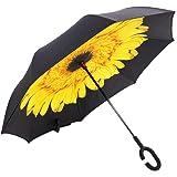 SPF50+ UVカット逆さ傘 デュポン社製テフロン超撥水加工 直径107cm カーボンファイバー&グラスファイバー製超軽量雨傘 日傘としてももちろんOK! 閉じた時に濡れた面が内側になるので服を濡らさず周りにも迷惑をかけません しばる時にも手が濡れない画期的な逆折り式傘 逆に開く傘 どこにでも立てられます ハンズフリーでさせるC型ラバーハンドル 長傘 車用傘 自立式 2重構造 晴雨兼用 防風タイプ かわいい柄を各種ご用意 (ひまわり)
