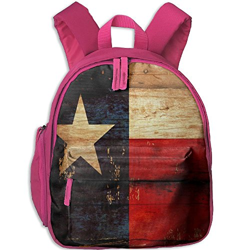 Price comparison product image SHUAIS Texas State Flag In Rustic Wooden Look Toddler Backpack With Adjustable Shoulder Straps Printed Mini Backpack Gift For Children In Pre School Or Kindergarten Pink