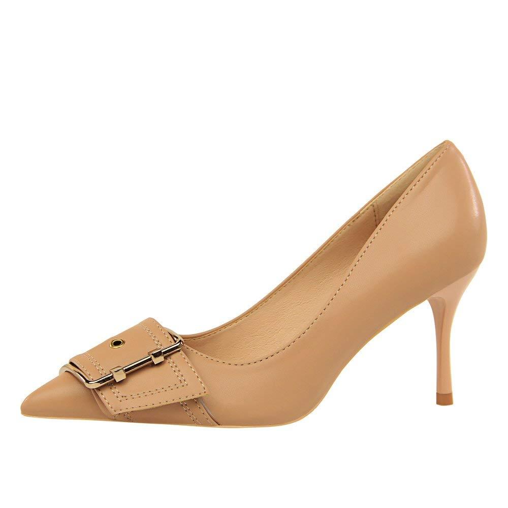 FORTR HOME Europäische und amerikanische Mode Sexy Nachtclubs Schuhe mit hohen Absätzen mit feinen Mode-Profis OL Schuhe Schuhe mit hohen Absätzen mit hochhackigen flachen Mund spitzen Metallgürtelsch