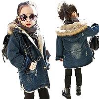 TAOJIAN Little Girls Fall Winter Hooded Denim Ripped Coat Fleece Jacket Outerwear (5-6Years, Blue)