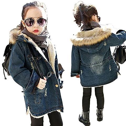 Kids Little Fall Girl Winter Hooded Fur Collar Thick Denim Coat Jacket Outerwear (3-4Years, Blue) - Denim Coat Jacket