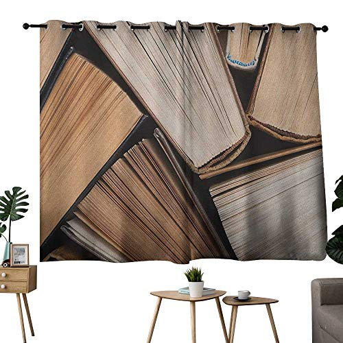 (grommet curtains Abstract,Pile of Old Books Research Reading Library Education Literature Theme Picture, Brown Beige,Treatments Thermal Insulated Light Blocking Drapes Back for Bedroom 42