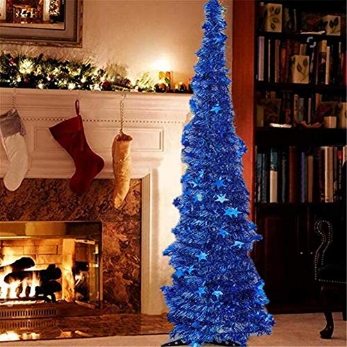 VAlink 1.2/1.5m Collapsible Christmas Trees, Bling Reflective Star Xmas Tree w/Stand for Home Decoration,Folding Artificial Pop up Christmas Tree for Event Festival Decorative,Party Props Favours