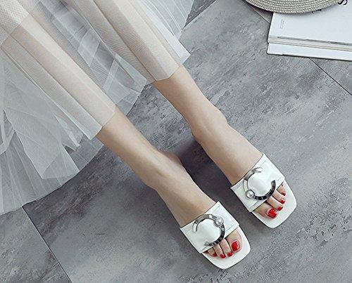 Blanc Perles Aisun Stable Métal Mules Enfiler Fermeture à Femme qPw8zH