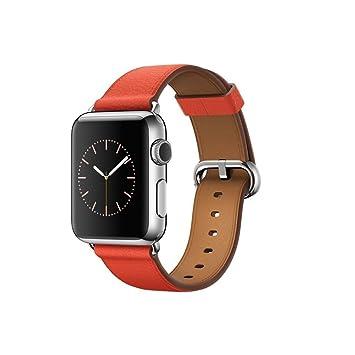 Apple Watch Montre connectée - Boîtier en acier inoxydable 38mm - Bracelet Boucle Classique Rouge (