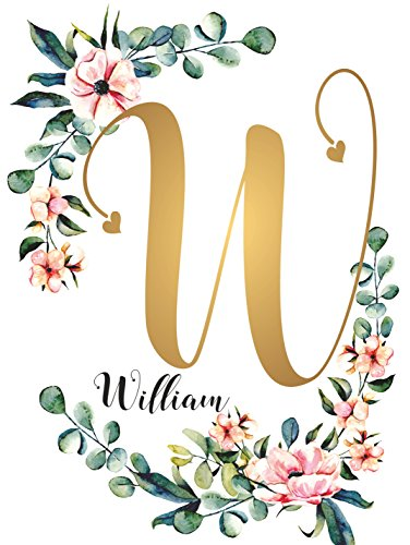 WILLIAM Baby Name Sign Gift Decor Nursery UNFRAMED POSTER A3 Gold Calligraphy Child Kids Wall Art Initial Monogram Baptism Floral Wreath