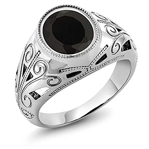 4.29 Ct Oval Natural Black Onyx 925 Sterling Silver Men's Ring size 10 (Oval Cut Black Onyx Ring)