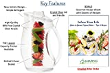 Water Infuser Pitcher & Gourmet Recipe eBook (Emailed) | BPA Free Fruit Infusion Pitcher with Glass Like Appearance and Largest 3+ Liter Capacity for Amazing Spa Water (Clear)