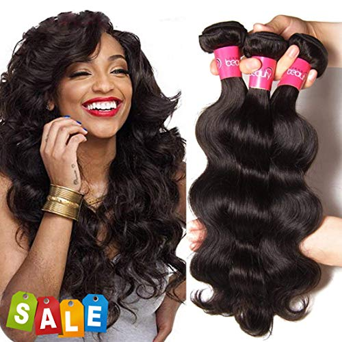Dinoce Compatible with Longqi Beauty Brazilian Body Wave Hair 18 16 14 Inches 3 Bundles 10A Remy Human Hair Body Wave 100% Unprocessed Virgin Hair Weave Natural Color for Black Women