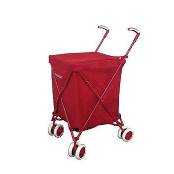 Carrito de Compras con Ruedas - Carrito Plegable Equipaje - Carrito de Transporte público - Transporte de hasta 120 LB (Color : Red): Amazon.es: Hogar