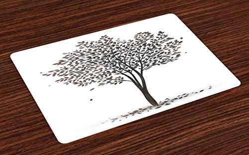 Ambesonne Tree of Life Place Mats Set of 4, Plant in The Fall Season Illustration with Falling Leaves Seasonal Art Print, Washable Fabric Placemats for Dining Room Kitchen Table Decor, Brown White