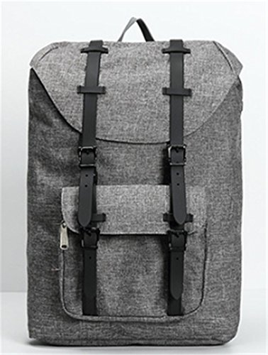 YOJAP Canvas Rucksack, Casual Daypack mit USB Charge Port Backpack Schulrusack Laptoprucksack für Freitzeit Arbeit Campus Schule Reise Grau