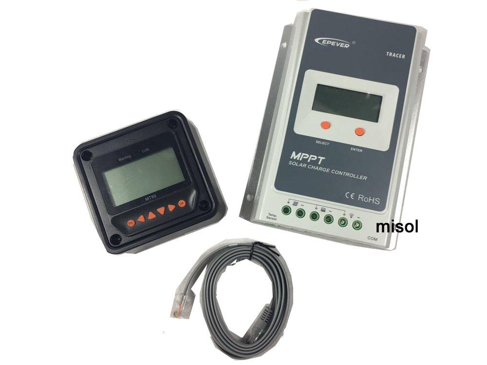 MISOL Tracer MPPT Solar regulator 40A with remote meter, 12/24v, Solar Charge Controller 40A, NEW/MPPT Ré gulateur solaire 40A avec té lé commande, 12 / 24v, Ré gulateur de charge solaire 40A, NOUVEAU