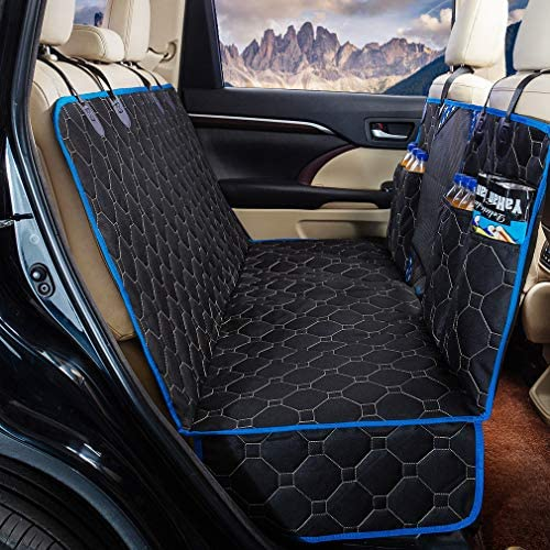 """Dog Back Seat Cover Protector Waterproof Scratchproof Nonslip Hammock for Dogs Backseat Protection Against Dirt and Pet Fur Durable Pets Seat Covers for Cars & SUVs (Blue, 58″ Wx 56"""" L)"""