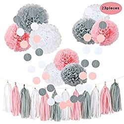 CHOTIKA 23 pcs Tissue Flowers Pom Poms Party Girl Paper Decorations First Birthday Girl Tissue Flowers Tassel Paper Baby Shower Decorations supplies kits 100% Premium Paper (Pink-White-Grey)