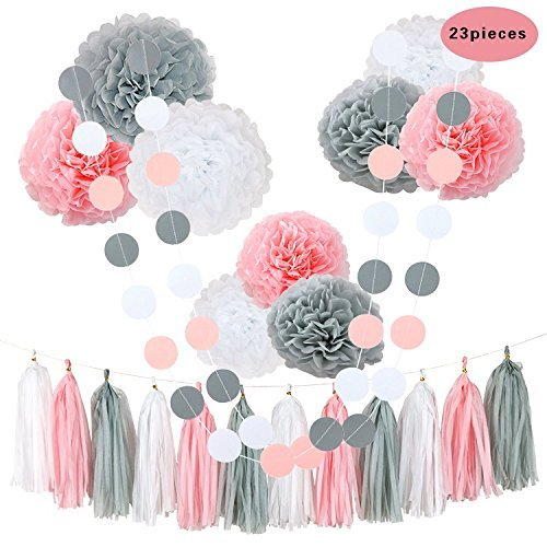 CHOTIKA 23 pcs Tissue Flowers Pom Poms Party Girl Paper Decorations First Birthday Girl Tissue Flowers Tassel Paper Baby Shower Decorations supplies kits 100% Premium Paper (Pink-White-Grey) ()