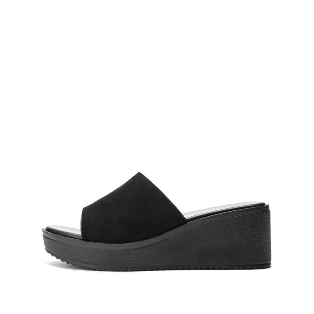 DHG Ciabatte da donna estive piccole fresche da pendenza casual con sandali aperti H55W8219,Nero,36  -