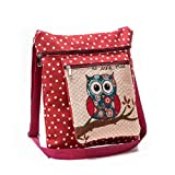 2-layers Satchel Bag, Cute Owl Embroidery Canvas Bag Crossbody Shoulder Bag for Women