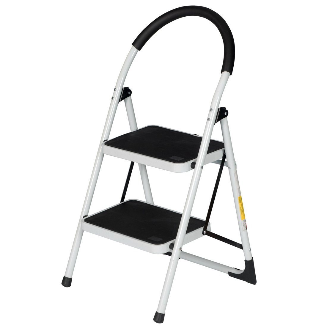 GOOD LIFE EN131 Folding 2 Step Ladder Home Depot Steel Step Ladders Lightweight 330 lb Capacity with Hand Grip Anti-slip and Wide Pedal HMI368