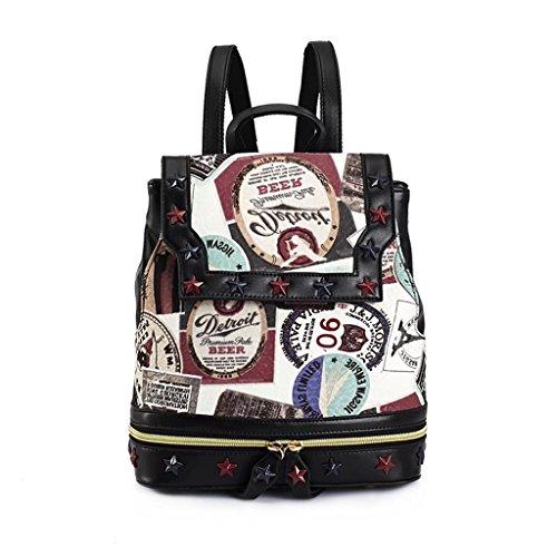 Mochila para mujer de las muchachas de las señoras 2017 nuevo bolso de la PU del bolso del bolso estudiantes europeos y americanos de la manera mochila escolar (25 * 15 * 29CM) (suede impreso)