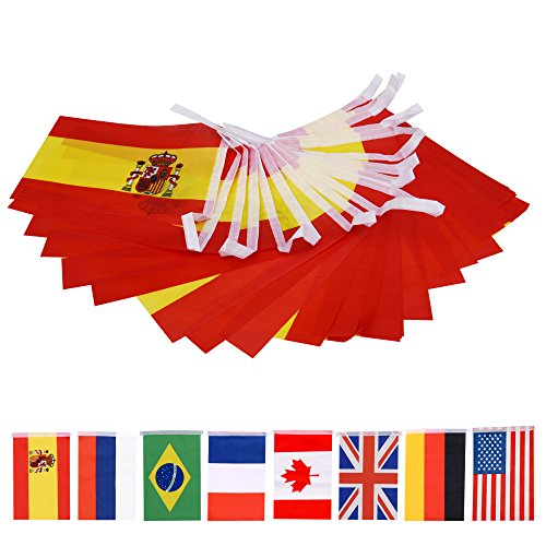 66 Feet Spanish String Flag,66Pcs National Country World Flags Banner String]()