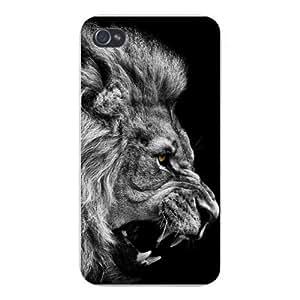 2015 CustomizedApple Iphone Custom Case 4 4s Snap on - King of the Jungle Lion Head Growling Black & White Closeup
