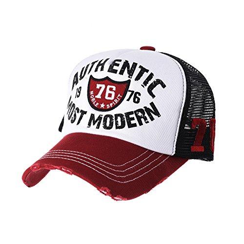 Distressed de Trucker Baseball WITHMOONS Vintage béisbol Hat Trucker KR1627 Sombrero Gorra de Cap Rojo Gorras Meshed de wqq5W7CO